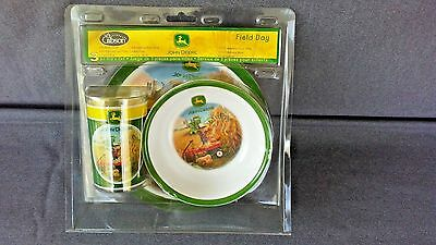 JOHN DEERE 3pc KIDS FIELD DAY SET~ MELAMINE CUP, BOWL & PLATE, EXCELLENT CONDITI