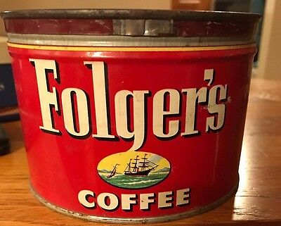 Vintage Folgers Coffee Can 1952 J.A. Folger & Co 1 pound with Lid