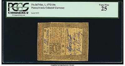 Pennsylvania Colonial Note October 1, 1773 10s. Graded by PCGS Very Fine 25.
