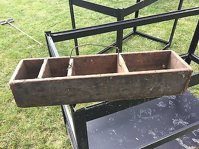 Old Vintage Antique Primitive Wooden Carpenter's Tool Box Carrying Tote Caddy