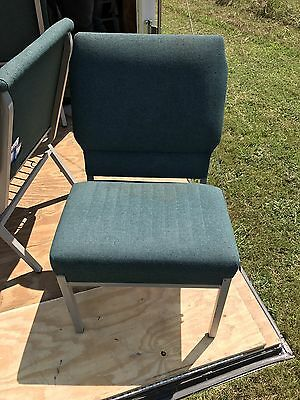 LOT 350+ upholstered stackable, interlocking steel framed church/Event chairs.