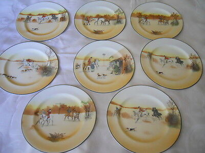 "Set of 8 Royal Doulton John Peel  Hunting 8"" Bone Salad Plates"