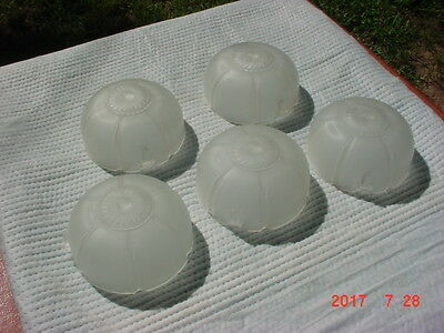 5 Vintage Art Deco Frosted Glass Slip Shade Chandelier Sconces