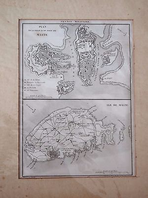 Old french Map of the island of Malta and Valletta.