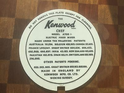the kenwood chef model a700 d mixer base plate