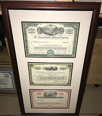 Custom framed 3 stock certificate with certificate of authenticity