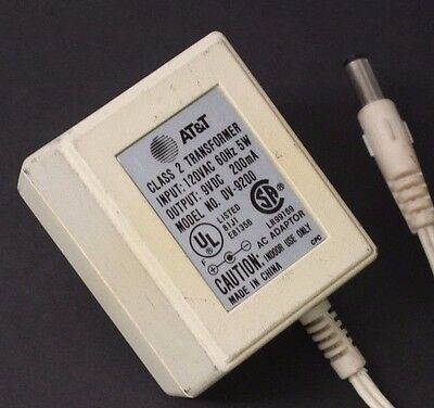 At&t AC Power Supply Adapter Charger Output 9V DC 200mA Class 2 Transformer