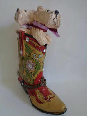 Sculpted**pair 2 Wheaten Terriers Playing In A Cowboy Boot***one Of A Kind Piece
