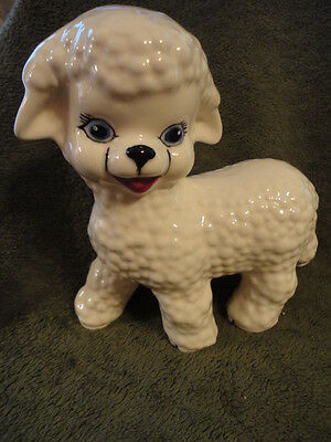 Lamb Figurine Ceramic 6-1/2 in Tall Rose Wood Signed Vintage