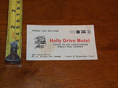 Old Vintage Business Card Holly Drive Motel Fulton New York