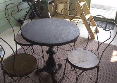 Ice Cream Parlor Bistro Shop Twisted Iron Chairs Table / Sweetheart Vintage Set