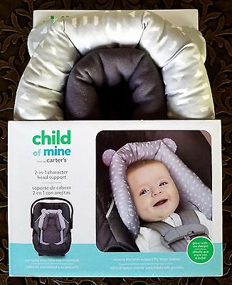 CARTER'S CHILD OF MINE 2-IN-1 HEAD SUPPORT NEW NIB Infant Cute Grey White