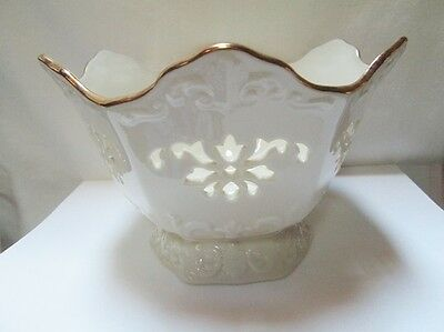 "Lenox Ivory Scalloped Pierced Embossed 7"" Gold Trimmed Footed Bowl - USA"