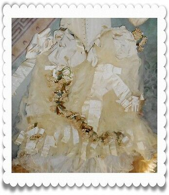 1890S Stunning Vtg Victorian Wedding Corset Silk Gown Tambour Lace Flowers