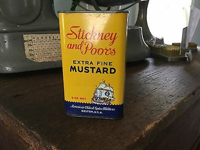 Stickney and Poor's Extra Fine Mustard Tin (3oz) Boston, Mass. Advertising, NICE