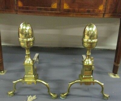 Harvin Company Williamsburg Chippendale Style Brass Andirons Fine Vintage Estate