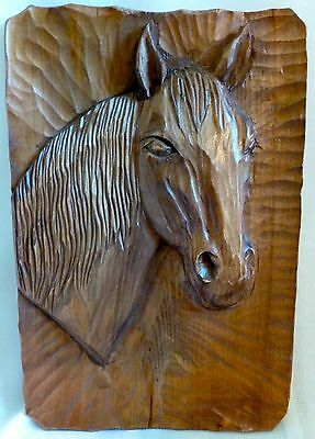 Vintage PRIMITIVE Hand Carved Whimsy HORSE Wall Board Plaque