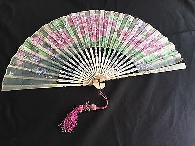 Vintage Chinese or Japanese Silk Gauze Fan Hand Painted