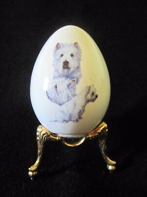 """Collectible West Highland Terrier Puppy Dog Porcelain Egg On Gold Toned Stand 3"""""""