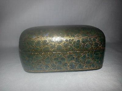 Kashmir Hand Painted Floral Lacquer Paper Mache Trinket Gift Box Green & Gold