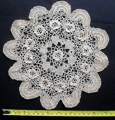 Set of 2 Antique Crocheted Doilies w/ 3 Dimensional Flowers