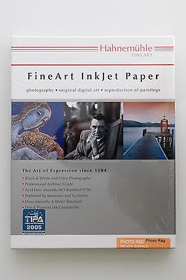 """Hahnemühle Photo Rag Paper (8.5 x 11"""", 20 Sheets) 308gsm"""
