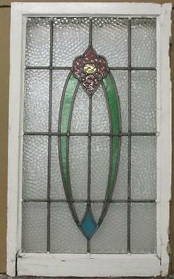 "MID SIZED OLD ENGLISH LEADED STAINED GLASS WINDOW Abstract Floral 19.25"" x 33"""