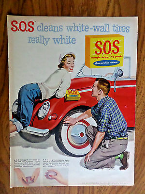 1956 S.O.S. Pads Ad  Cleans White-Wall Tires Really White VW Volkswagen type