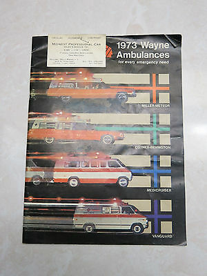 1973 Wayne Ambulances 12 Page Sales Catalog   1974 Miller Meteor Slick Sheets