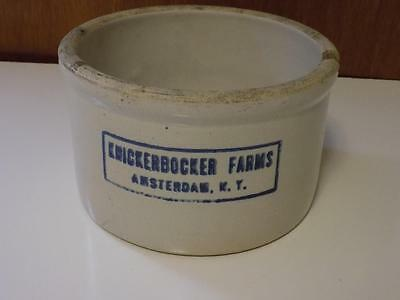 Antique Vintage Knickerbocker Farms Amsterdam NY Butter Cheese Stoneware Crock
