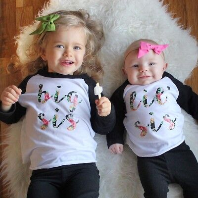 US Stock Little Sister Baby Girl Romper Jumpsuit Big Sister T-shirt Tops Outfits