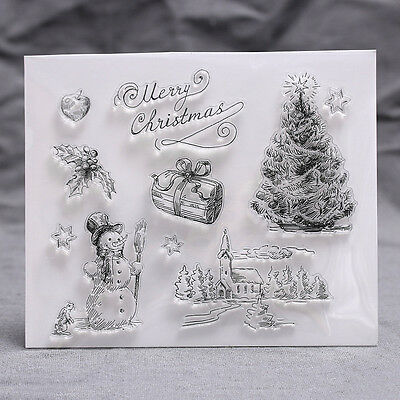 Christmas Transparent Silicone Clear Rubber Stamp Sheet Cling Scrapbooking DIY