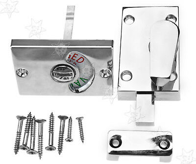 Chrome Indicator Catch Bolt Vacant/Engaged Bathroom WC Toilet Door Lock