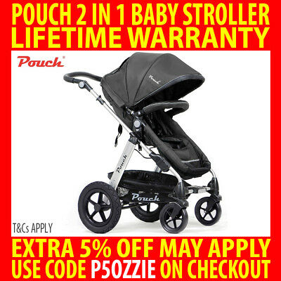 Pouch 2 In 1 Baby Toddler Pram Stroller Jogger Aluminium With Bassinet Black