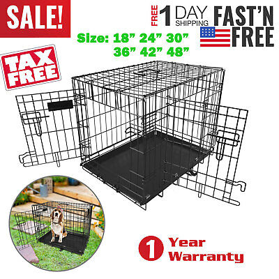 "Pet Cat Dog Folding Steel Crate Playpen Wire Metal Cage 18""/24""/30""/36""/42""/48"""