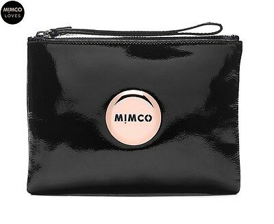MIMCO LOVELY Medium Pouch BLACK Patent Leather Rose Gold Logo Authentic BNWT