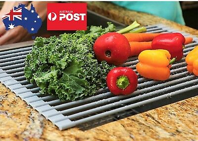 NEW Kitchen Dish Drainer Drying Rack Roll-up Dish Mat Stainless steel Silicone
