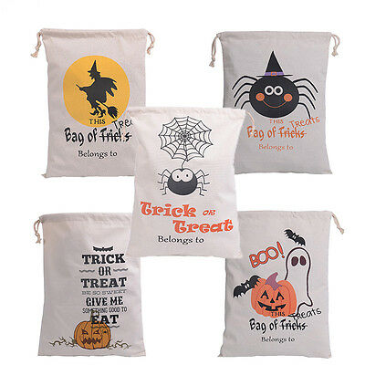 Halloween Trick or Treat Pumpkin Canvas Bags Port Drawstring Sack Candy Gift Bag