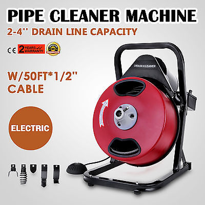 50FT*1/2'' Drain Auger Pipe Cleaner Cleaning Machine Plumber Durable 2-4'' Pipes