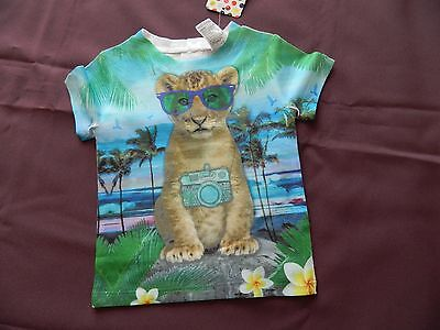 Baby Short Sleeve Tee Animal Print Size 000 Cotton/Polyester