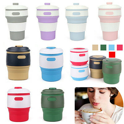 Silicone Collapsible Folding Mugs Coffee Tea Cup Travel Outdoor Hiking 350ml