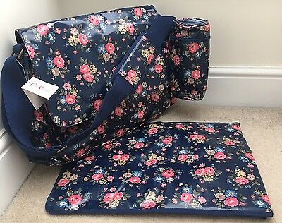 CATH KIDSTON Luxury Nappy/Changing/Diaper Bag Navy Blue Latimer Rose Floral BNWT
