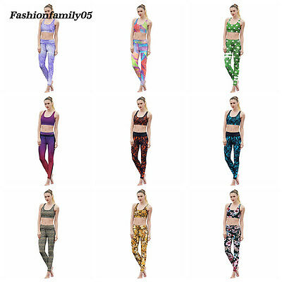 Fashion 3D Print Yoga Bras Leggings Suits Women's Gym Running Athletic Tracksuit