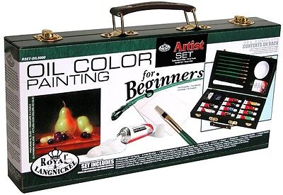 Beginners Oil Painting Artist Set Wooden Box Starters Kit Canvas Board Pad