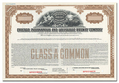 Chicago, Indianapolis and Louisville Rwy Co Specimen Stock Certificate (Monon)