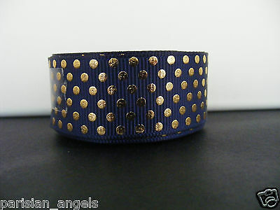 """7/8"""" (22mm) Foil Printed Grosgrain Ribbon - By the Metre- #4428 Navy & Gold"""