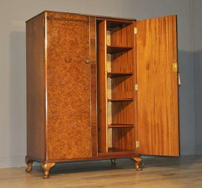 Attractive Small Vintage Burr Walnut Fitted Double Wardrobe Tallboy Armoire