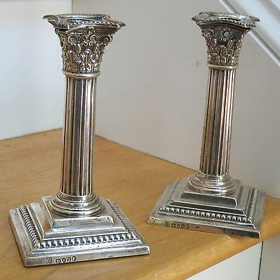 Pair Sterling Silver Corinthian Column Candlesticks, Richard Hodd & Sons, London