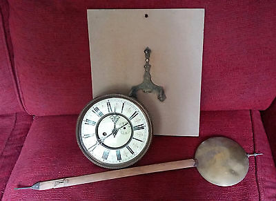Vintage Clock face with mechanism, pendulum and mount - good for spares