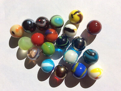 20 Small 14mm COLOURFUL GLASS MARBLES a mixture of the worlds best all different